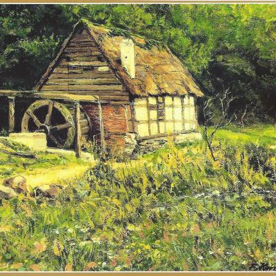 """Die alte Ölmühle bei Neitersen, die im 16. oder  17. Jahrhundert erbaut wurde, stand einsam im unteren  Tal des Birnbachs am Weg nach Hemmelzen.   Ihr Anblick muss solch eine Idylle gewesen sein, dass die   Mühle auf zahlreichen Fotografien und Gemälden fest-  gehalten wurde und so noch heute in vielen Häusern von  Neitersen zu finden ist.  Nach dem 2. Weltkrieg verfiel die Mühle und wurde   abgetragen. Der naturgetreue Nachbau befindet sich heute  im Landschaftsmuseum Westerwald in Hachenburg und ist  im sogenannten """"Mühlenhaus"""" ausgestellt."""