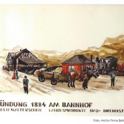 Wilhelm Walterschen hatte die Bedeutung der  Eisenbahn für Wirtschaft und Handel früh erkannt.  Bereits 1884 gründete er am Bahnhof in Neitersen  eine Firma für Landhandel. Aus diesem Unternehmen  ist die heutige Firma Bellersheim hervorgegangen, eine  der größten Mineralölhandelsgesellschaften der Region.