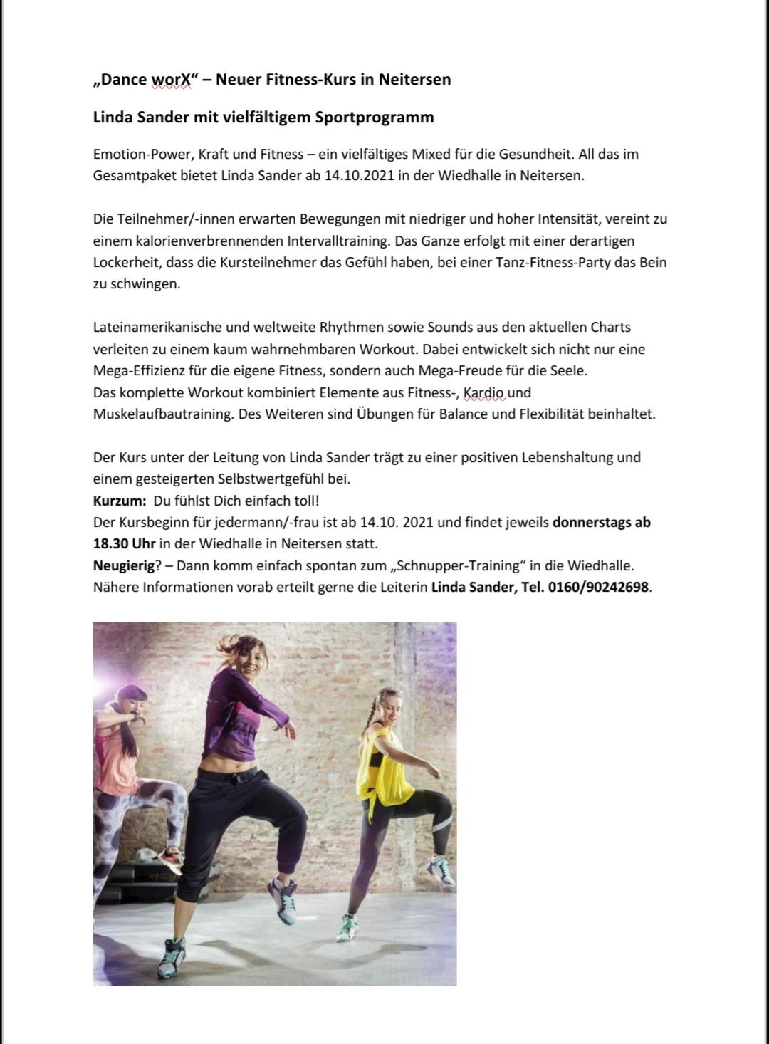 """neuer Fitness-Kurs """"Dance worX"""" @ Großer Saal, Wiedhalle"""