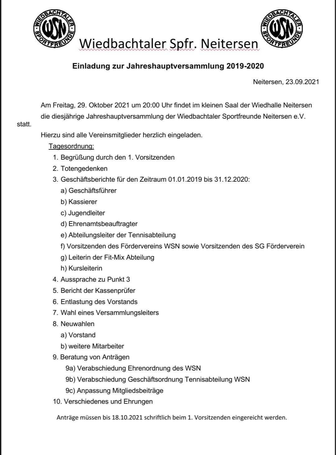 Jahreshauptversammlung der Wiedbachtaler Sportfreunde Neitersen @ Kleiner Saal, Wiedhalle