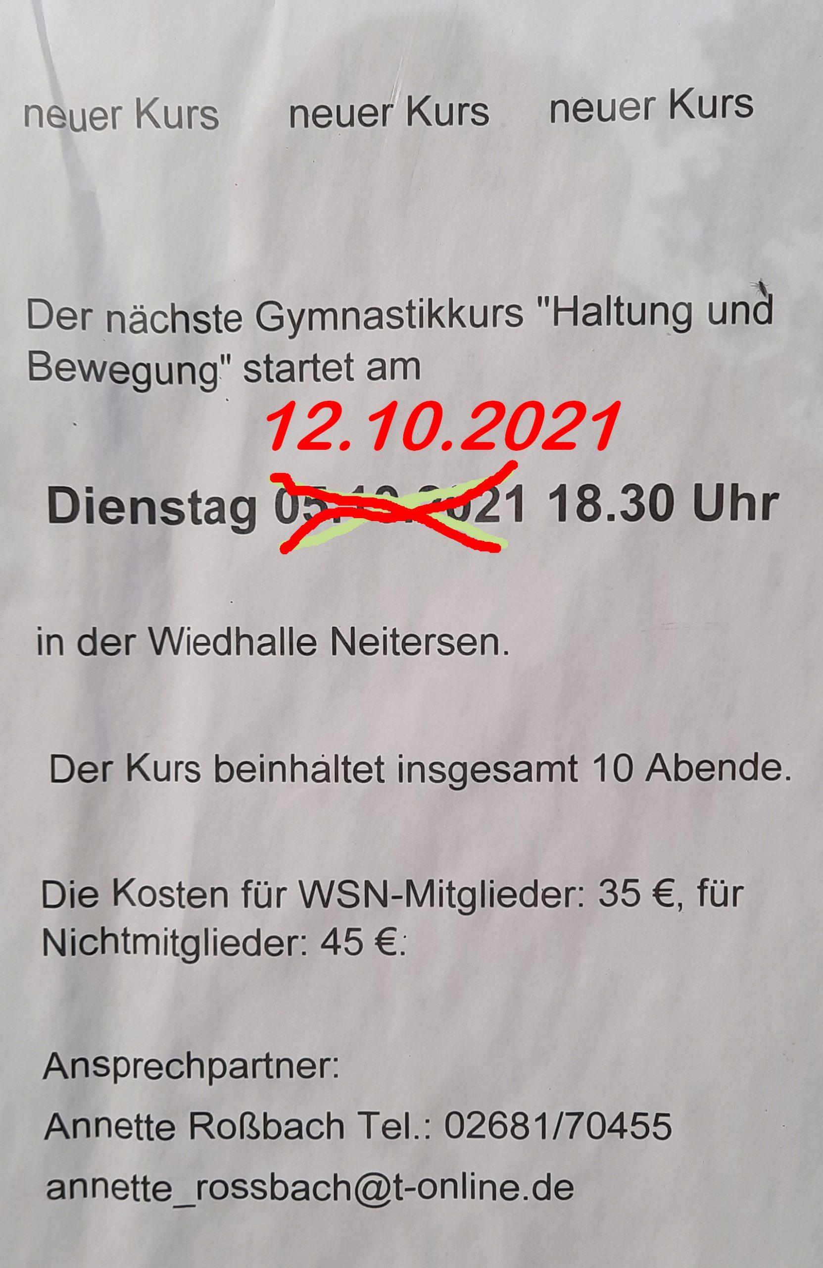 """Gymnastikkurs """"Haltung und Bewegung"""" @ Großer Saal, Wiedhalle"""